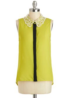 Twist of Lime Top - Sheer, Mid-length, Green, Solid, Lace, Peter Pan Collar, Neon, Sleeveless, Collared