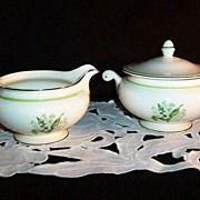 Homer Laughlin Eggshell Nautilus Lily of the Valley Creamer & Sugar Set