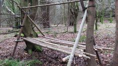 A-Frame Shelter with Raised Bed - This is a great wee shelter to learn to build as it is very suitable for a lot of environments in which you want to get up off the forest floor, from boreal forests to jungles, it's one the Bushcrafter and Survivalist should really practice building. Load your bed with soft boughs, rushes or grass to make yourself more comfortable, put a tarp over the ridge pole for a quick roof.