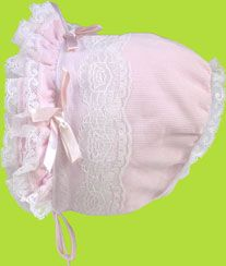 Pink Double Ruffle Brim Corduroy Bonnet with Lace