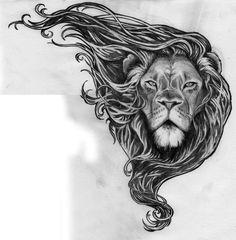 Grey Ink Angry Lion Tattoo On Half Sleeve photo - 2