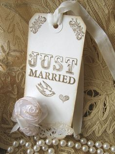 Wedding Wishing Tree  Wedding Wish Tag, Rose Vintage Just Married Tag - change out to smaller rose