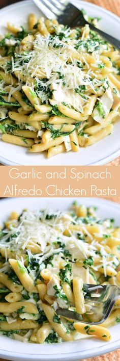 Garlic and Spinach Alfredo Chicken Pasta. Simple pasta dish that is ready in about 15 minutes. This delicious, creamy dish is made with spinach and garlic Alfredo sauce, tender rotisserie chicken, and quick and easy pasta.