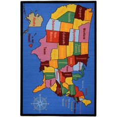 Kid's Educational United States Map and Cities Non-Skid Area Rug (3'3 x 5') | Overstock.com Shopping - Great Deals on 3x5 - 4x6 Rugs