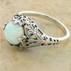 Antique Victorian Style White Opal Filigree Engagement Ring, Sterling... (£57) ❤ liked on Polyvore featuring jewelry, rings, leaf engagement ring, white opal rings, opal rings, sterling silver birthstone rings and filigree engagement rings