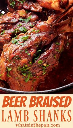Braised Lamb Shanks Beer Braised Lamb Shanks makes cooking lamb so easy for all of your holiday meals or special dinners!Beer Braised Lamb Shanks makes cooking lamb so easy for all of your holiday meals or special dinners! Lamb Shanks Oven, Lamb Shanks Slow Cooker, Braised Lamb Shanks, Goat Recipes, Lamb Chop Recipes, Beef Recipes, Cooking Recipes, Lamb Shank Recipe, Recipe For Lamb Shanks