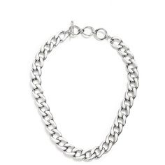 GUESS Silver-Tone Chain Link Necklace With White Enamel Finish ($25) ❤ liked on Polyvore