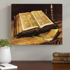 'Still Life with Bible' by Vincent van Gogh Framed Oil Painting Print on Canvas Marlow Home Co. Vincent Van Gogh, Michelangelo Paintings, Rembrandt Art, Baptism Of Christ, Van Gogh Art, Van Gogh Paintings, Canvas Art, Canvas Prints, Box Art