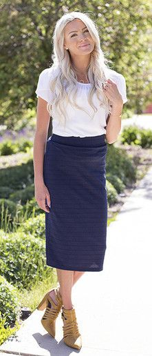 This stretch skirt is a little longer than the average pencil knee length skirt…