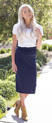 Modest knee length skirt  Pencil skirt, navy skirt, modest fashion, modest skirt, women's fashion