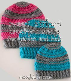 Sweet Striped Crochet Hats  - sizes for babies, toddlers, and young children! Perfect hat for girls and boys, free pattern on mooglyblog.com #crochet