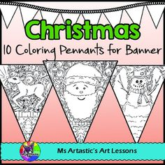 10 Christmas Coloring pennants for your classroom! Mindful, zen, coloring sheets for all ages that can be displayed in your classroom. All 10 pages are hand drawn by Ms Artastic. These intricate and detailed coloring pennants are great for providing a peaceful, quiet activity for your students and for use for decorating your classroom.