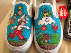 I picked up some vans on clearance for $9.99 and put my sharpies to work. Best birthday present ever for my Super Mario loving son. When I am finished with them I am going to coat them with some beeswax for protection and waterproofing. :)