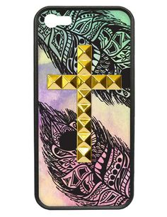 Feather Gold Studded Cross iPhone 5/5s Case