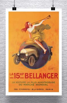 LA 15HP Bellanger 1921 Vintage Leonetto Cappiello Auto Advertising Poster Rolled Canvas Giclee Print 24x36 in.