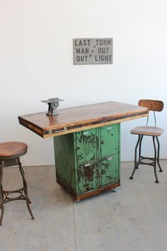 "Vintage Industrial Antique Table/ Workbench/ Kitchen Island with 4"" Butcher Block and Locker Storage on Etsy, $899.00"