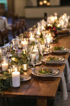 Candlelit reception table with draped greenery garland for a centerpiece - pretty for a summer or fall wedding! August Wedding, Summer Wedding, Reception Table, Wedding Reception, Hydrangea Not Blooming, Photography Day, Burgundy Bridesmaid Dresses, Greenery Garland, Beautiful Wedding Cakes
