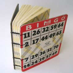 Upcycled BINGO Journal in Ochre ZigZag by maydaystudio on Etsy. 30 USD, via Etsy.