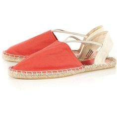 VERONA Coral Espadrilles ($24) ❤ liked on Polyvore featuring shoes, sandals, espadrille sandals, coral shoes, elastic-strap sandals, coral sandals and espadrilles shoes