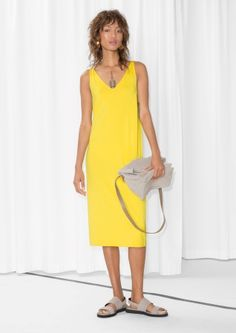 V-Neck Dress - Yellow - & Other Stories