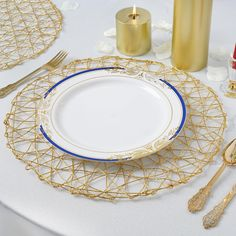 Search for Unique Party Supplies and Home Decoration Items at tablecloths. Buy Latest Trending Metallic Woven Round Table Placemats, Metallic Charger Plates, Beaded Metal Server Trays, and more! Other Accessories, Decorative Accessories, Decorative Items, Placemats For Round Table, Elegant Centerpieces, Wedding Centerpieces, Disposable Plates, Gold For Sale, Wrapping