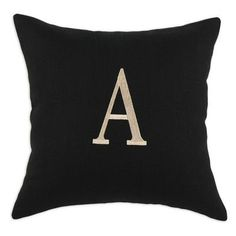 Brite Ideas Living Circa Solid Night Linen Throw Pillow Letter: V