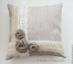 Купить Декоративные подушки из льна/ набор подушек/ подушки с розами - бежевый, подушки в одном стиле
