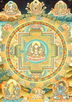 Chenrezig (Shadakshari Avalokiteshvara) Mandala* Arielle Gabriel's memoir The Goddess of Mercy & The Dept. of Miracles, a unique tale of a mystic suffering financial devastation among the world's richest ex-pats * Tibetan Mandala, Tibetan Art, Tibetan Buddhism, Thangka Painting, Mandala Painting, Mandala Art, Hamsa Art, Buddhist Symbols, Wheel Of Life