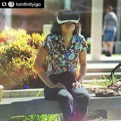 #Repost @toinfinityigo with @repostapp  ᔕITTIᑎG Oᑎ ᗩ ᑭᗩᖇK ᗷEᑎᑕᕼ ....wearing VR goggles in my new Sprint commercial! (Top left giant shades & cap ghost = director)  #vr #virtualreality #commercial #actor #collegelife #campus #goggles #technology #bench #sitting #outside #stills #national #tech #techie #videogames #visual #tv #whoa #omg #girl #csulb #college #company #wireless #production #setlife by instamomofastar - Shop VR at VirtualRealityDen.com