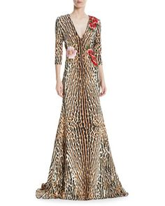 dd27b042cb Leopard+ +Floral+V-Neck+Trumpet+Gown+by+