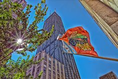 The Blackhawks flag is proudly flown in the City of Chicago as the 2013 Stanley Cup champions.