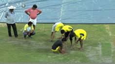 Start of play on day two of the #DuleepTrophy match between India Red - India Blue match has been delayed. The ground staff are trying their best to get the outfield ready.