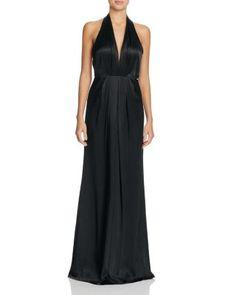 Jill Jill Stuart Silk Plunging Halter Gown | Bloomingdale's