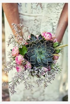 Succulents -Spectacular Succulents - Thoroughly Modern Air Plant Bridal Bouquets ~ Asymmetrical bouquet of Tillandsia, succulents, scabiosa pods, dahlias, scabiosa and jasmine vine by Artichokes and Pomegranates Succulent Wedding Bouquet Bouquet Succulent, Succulent Boutonniere, Succulent Ideas, Boutonnieres, Rose Bouquet, Deco Floral, French Wedding, Wedding Vintage, Vintage Weddings