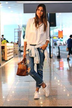 White Blouse + Boyfriend Jeans + White Converse