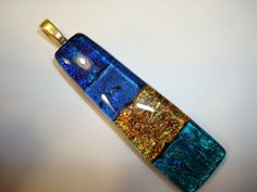 Multi+Layered+Blue+Gold+and+Teal+Fused+Dichroic+by+WhiteLilyGlass,+$30.00