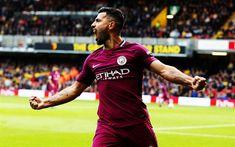 Download wallpapers Sergio Aguero, 4k, joy, football stars, Man City, soccer, Manchester City, Premier League