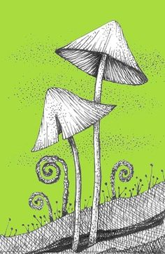 Mushroom Fantasy ACEO Print from natureon paper etsy