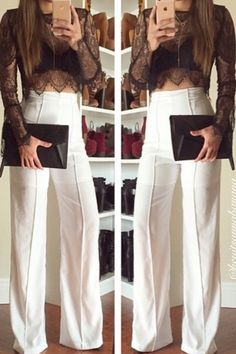 Wide Stride High Waist Pants - White – Colors of Aurora