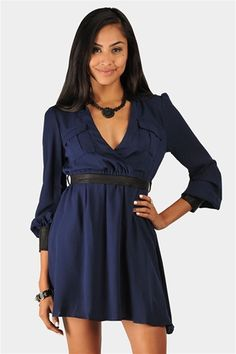 Oxford Collared Dress - Navy at Necessary Clothing
