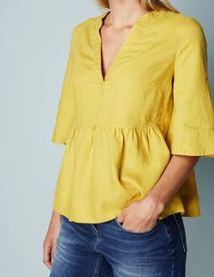 Relaxed Linen Popover WA690 Clothing at Boden