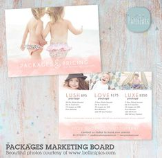 Advertise your studio Packages and Pricing with this sweet board. Add a call to action to gain business.  It is perfect for using as a flyer,