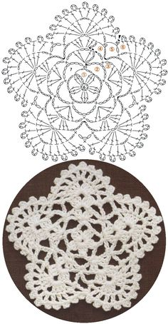 Here's a nice little crochet chart pattern from Sugar_LYS found on a…Pretty little doily; Photo pinned to my crochet boardMingky Tinky Tiger + the Biddle Diddle Dee: Photo Crochet Coaster Pattern, Crochet Snowflake Pattern, Crochet Motif Patterns, Crochet Stars, Crochet Circles, Crochet Snowflakes, Crochet Diagram, Crochet Dollies, Crochet Flowers