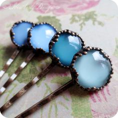 Hair Holiday: hues of blue ombre glass jewel aged brass fancy crown setting bobby pin set of 4