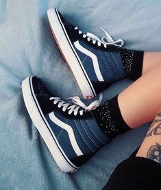 black and navy high top vans - - Blue High Top Vans, High Top Vans Outfit, Navy Blue Vans, High Tops, Blue Vans Shoes, Dr Shoes, Hype Shoes, Sock Shoes, Shoe Boots