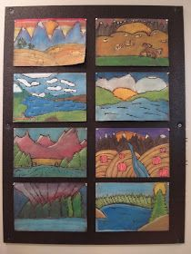 a faithful attempt: Glue Line Chalk Pastel Landscapes
