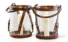 """Leather Wrapped Glass Lanterns at 1stdibs $285-$570 6""""-20"""""""