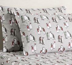 Penguin Print Organic, Pillowcases, Set of Standard, Multi Ski Chalet Decor, Ski Decor, Organic Cotton Sheets, Cotton Sheet Sets, Best Sheet Sets, Pottery Barn Christmas, Christmas Decor, Wall Candle Holders, Linen Sheets