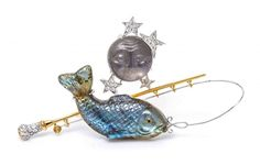 MICHAEL YOUSSOUFIAN Moonstone Labradorite Diamond 18K Gold FISHING NIGHT Brooch