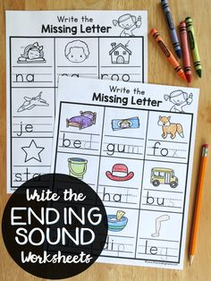 Write the Ending Sounds Worksheets {FREE} - This Reading Mama Word Work Activities, Alphabet Activities, Literacy Activities, Reading Activities, Teaching Reading, Teaching Resources, Literacy Centers, Teaching Phonics, Math Literacy